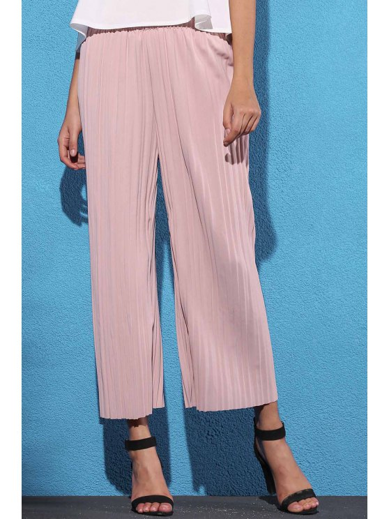 fashion Pure Color Pleated Cropped Pants - PINK ONE SIZE(FIT SIZE XS TO M)