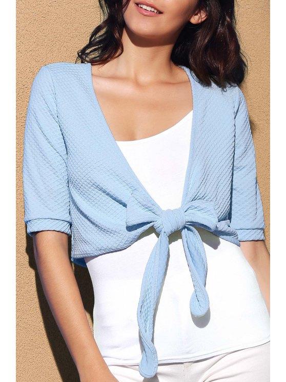 Traversez Tied Solide Couleur Plongeant cou à manches courtes Blouse - Bleu M
