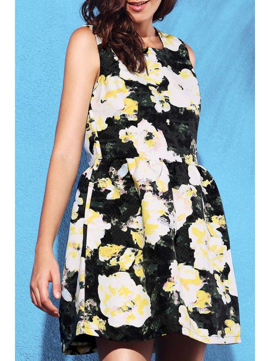 affordable Yellow Floral Print Round Neck Sleeveless Dress - LIGHT YELLOW M