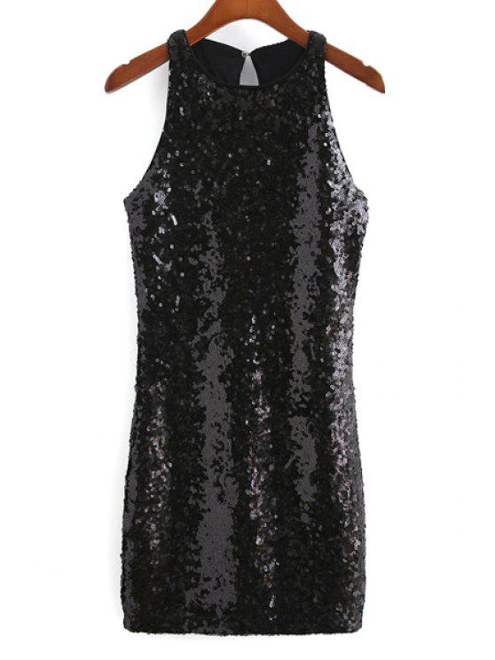 unique Sequins Round Collar Sleeveless Back Cut Out Dress - BLACK M
