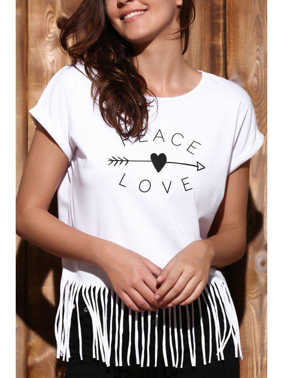 Manga de la letra de las borlas del cuello redondo corto de la camiseta - Blanco L