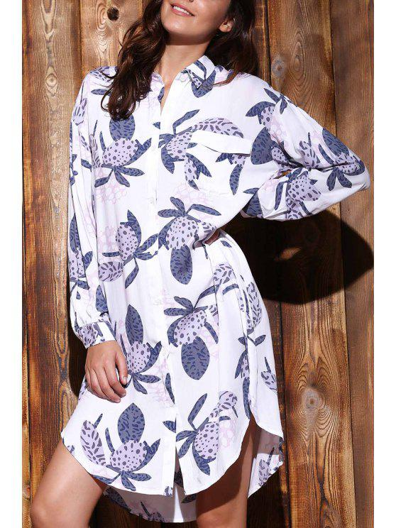 outfits Long Sleeve Printed Shirt Dress - COLORMIX L