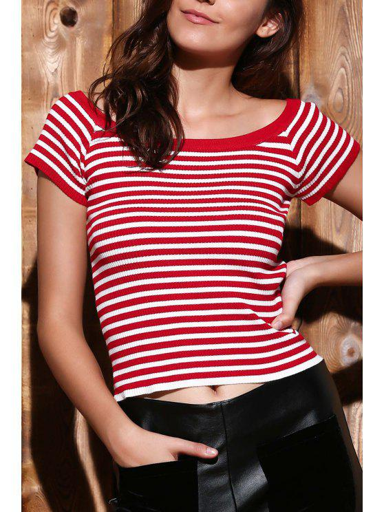 shops Slash Neck Striped Knit T-Shirt - RED S