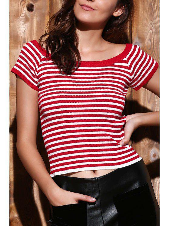 Corte Striped Neck Knit T-Shirt - Vermelho S