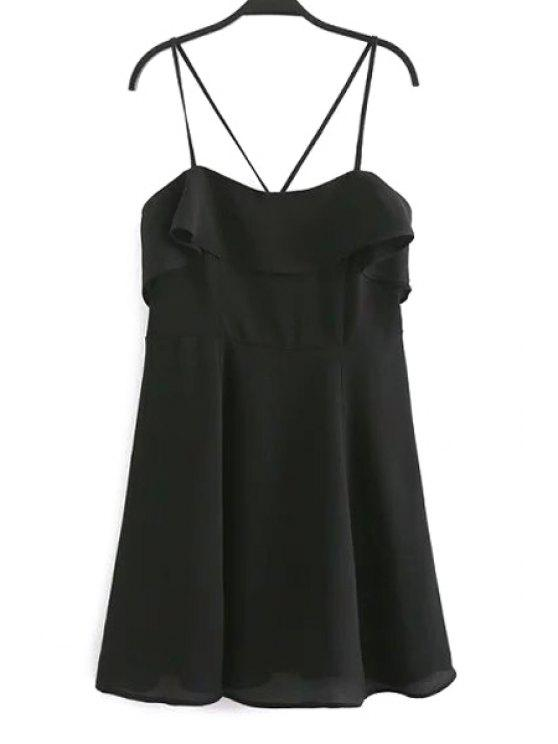 Backless Spaghetti Vestido Flouncing - Preto L
