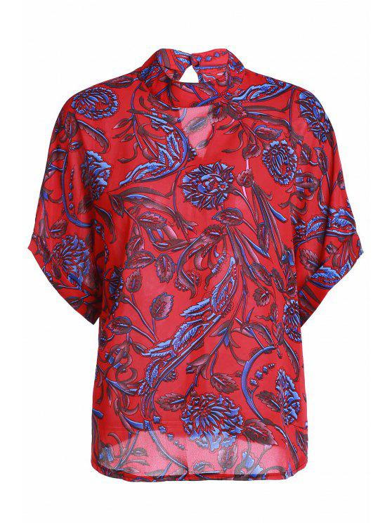 lady Floral Print Stand Neck Short Sleeve Blouse - RED ONE SIZE(FIT SIZE XS TO M)