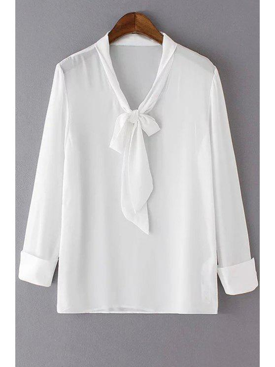 ladies Solid Color Bow Tie Collar Long Sleeve Blouse - WHITE S