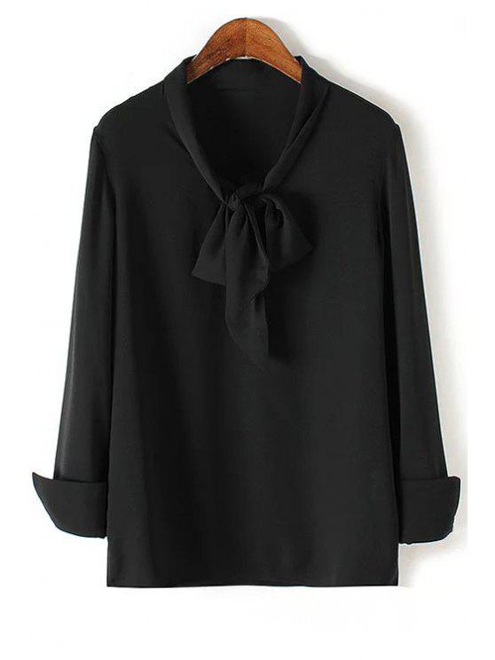 buy Solid Color Bow Tie Collar Long Sleeve Blouse - BLACK S