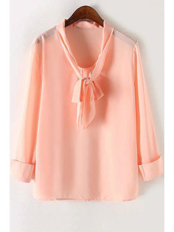 Color sólido de la pajarita de manga larga de cuello de la blusa - Rosa S