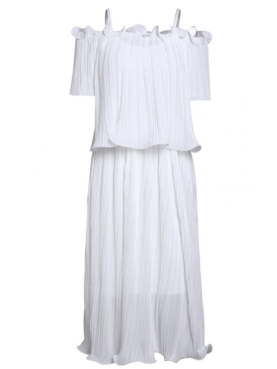 shop Ruched Cold Shoulder Blouse and Cami Fitting Dress - WHITE ONE SIZE(FIT SIZE XS TO M)