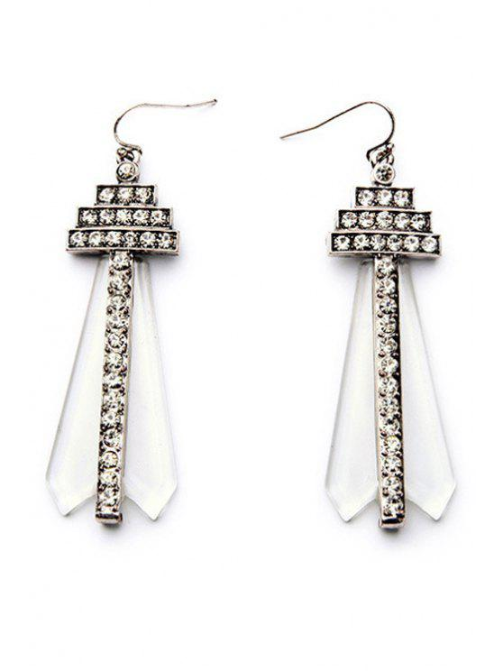 Rhinestone Faux Gem Earrings - Plata