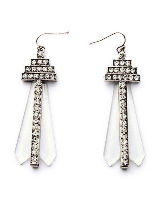 Rhinestone Faux Gem Earrings - Plata