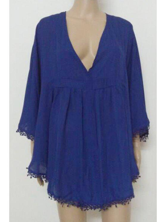 outfit Blue Plunging Neck Fringe Blouse - BLUE L