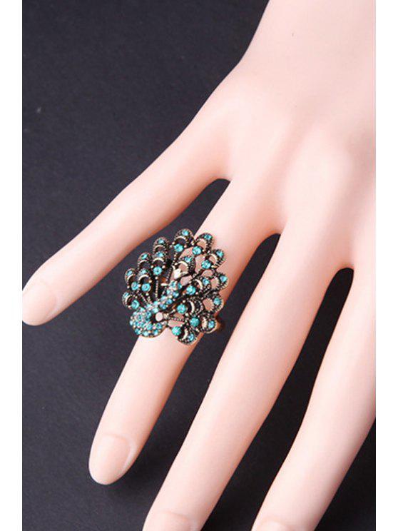 womens Rhinestone Peacock Shape Ring - TIFFANY BLUE