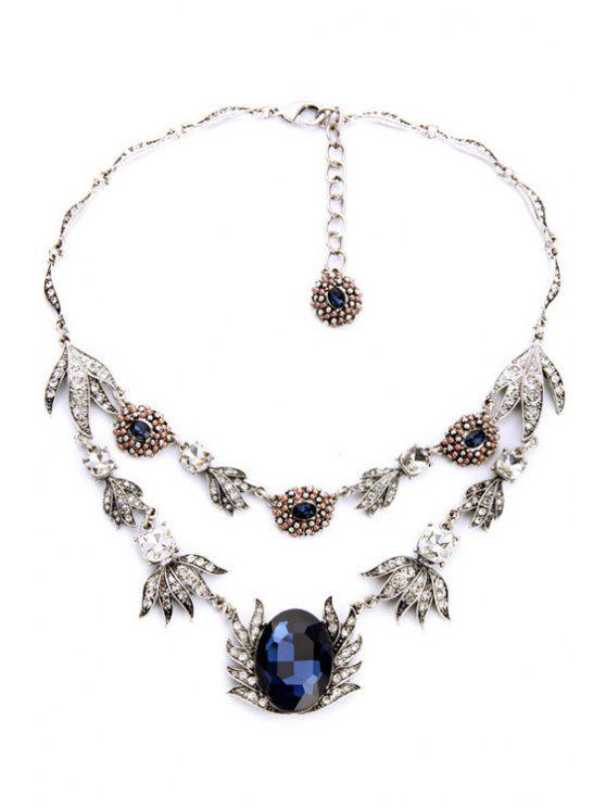 Faux-Saphir-Blatt-Form-Halskette - SILVER