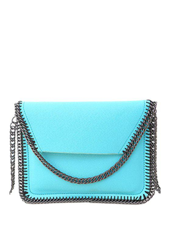 sale Candy Color Chains PU Leather Crossbody Bag - AZURE