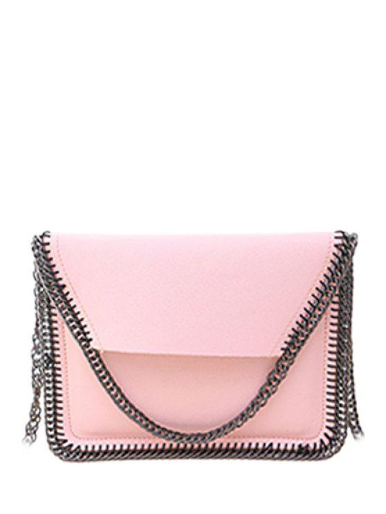 unique Candy Color Chains PU Leather Crossbody Bag - PINK