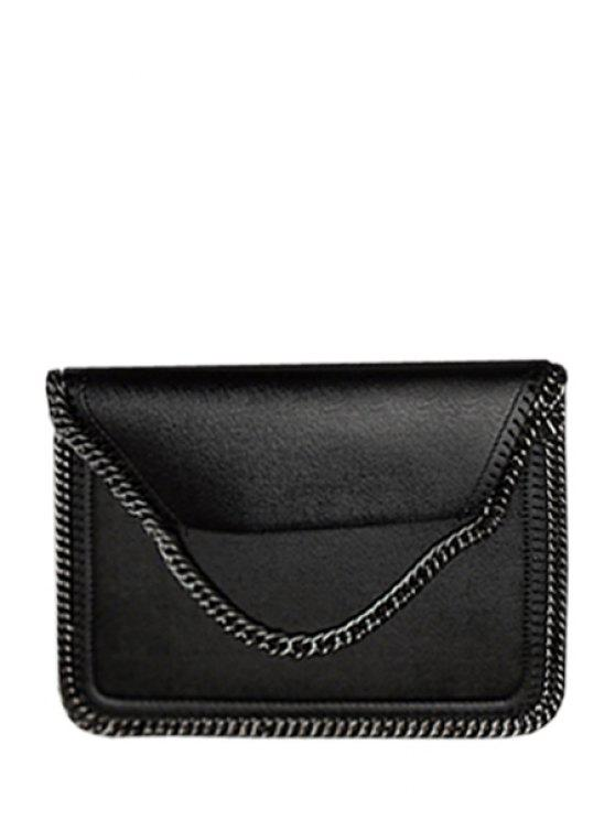 chic Candy Color Chains PU Leather Crossbody Bag - BLACK