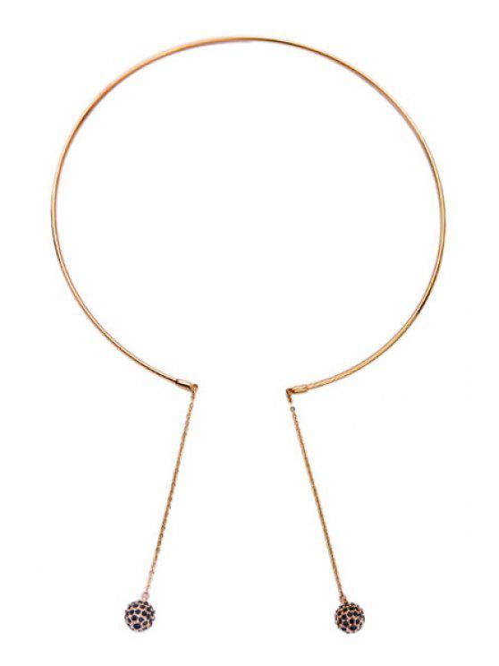 ladies Faux Gem Small Ball Pendant Necklace - GOLDEN