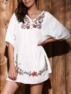 Style Ethnique V-cou Brodé Bouton Robe De Design Femmes - Blanc Xl