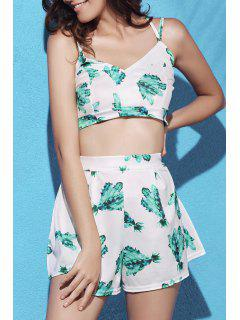 Printed Crop Top And Pleated Shorts Suit - White And Green Xl