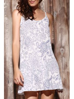 Ethnic Print Cami Dress - Light Blue Xl