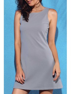 Solid Color A-Line Tank Dress - Gray Xl