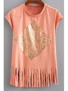Tassels Spliced Round Collar Short Sleeve Gilding Print T-Shirt - Orange L