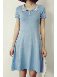 Blue Turn Down Collar Short Sleeve Dress - Blue