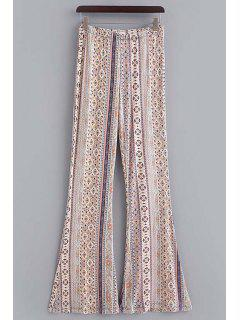 Printed Elastic Waist Boot Cut Pants - Off-white Xl