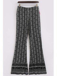 Printed Elastic Waist Boot Cut Pants - Black Xl