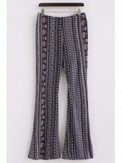 Printed Elastic Waist Boot Cut Pants - Purplish Blue Xl