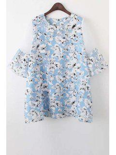 Organza Spliced Sleeve Round Collar Floral Print Dress - Light Blue S