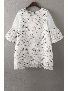 Organza Spliced Sleeve Round Collar Floral Print Dress - White M