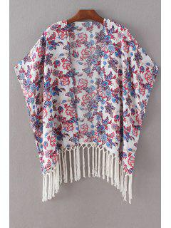 Printed Batwing Sleeve Tassels Spliced Cape Blouse - White M