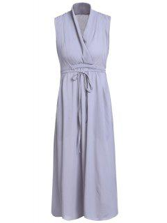 Belted Solid Color Plunging Neck Sleeveless Dress - Gray