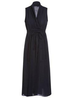 Belted Solid Color Plunging Neck Sleeveless Dress - Black