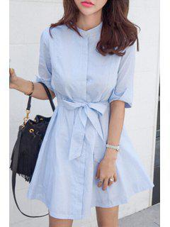 Blue Stripe Stand Neck Half Sleeve Dress - Light Blue Xl