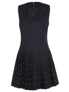 Black Rivet Ruched Round Neck Sleeveless Dress - Black L
