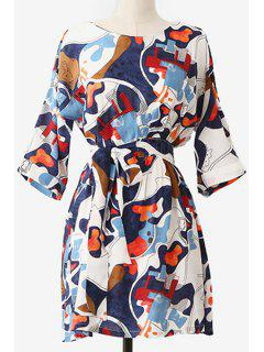 Print Round Neck 3/4 Sleeve Dress - Xl