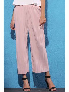 Pure Color Pleated Cropped Pants - Pink