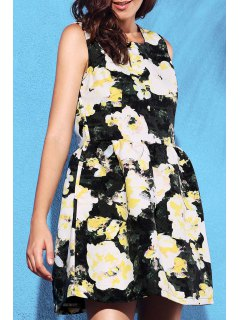 Yellow Floral Print Round Neck Sleeveless Dress - Light Yellow L