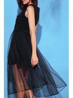 Black Voile Splicing Round Neck Sleeveless Dress - Black L