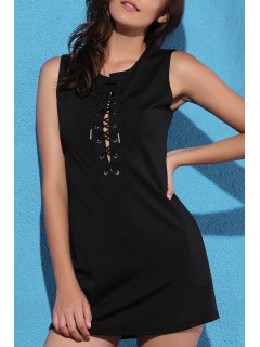 Black Plunging Neck Sleeveless Lace Up Dress - Black L