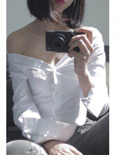 Camisa Blanca Con Cuello En V Manga Larga - Blanco M