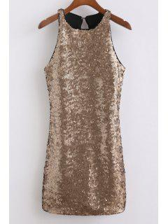 Sequins Round Collar Sleeveless Back Cut Out Dress - Champagne Gold L
