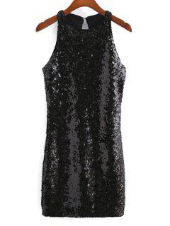 Sequins Round Collar Sleeveless Back Cut Out Dress - Black L