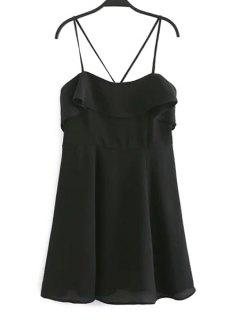 Backless Spaghetti Straps Flouncing Dress - Black L
