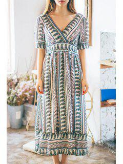 Ethnic Print V-Neck Short Sleeve Maxi Dress - L