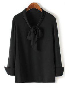 Solid Color Bow Tie Collar Long Sleeve Blouse - Black Xl